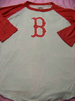 Majestic Threads Women's Boston Red Sox 3/4 Sleeve Burn Out Shirt Xl
