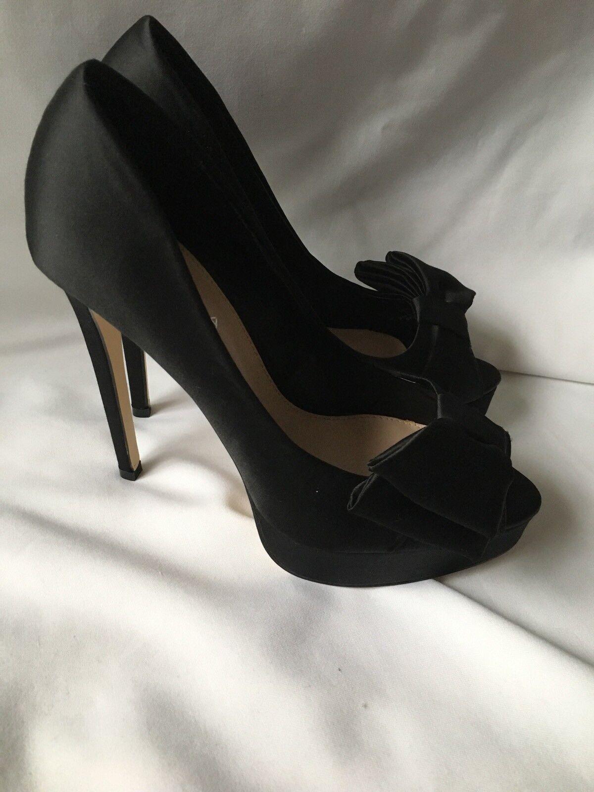 Carvela Kiara Black Satin Heels shoes Size 38 (5) New With Box