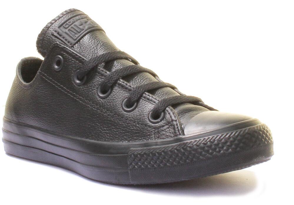 Converse Chuck Taylor Low Black Mono Unisex Leather Trainers Size UK 3 - 12