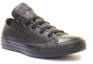 ee763b67e94b Converse Chuck Taylor Low Black Mono Unisex Leather Trainers Size ...
