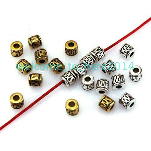 50pcs Metal Tube Spacer Beads Charms for Jewelry Accessories Making Bracelet DIY