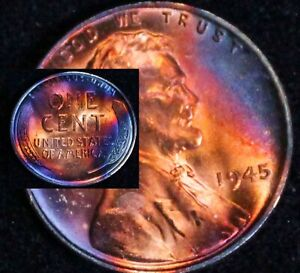UNCIRCULATED-1945-P-BU-49c-VIBRANT-Rainbow-MONSTER-Toned-Penny-Wheat-Cent