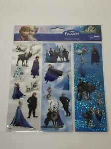 Disney FROZEN (20) Assorted SHINY & PUFFY STICKERS Sheet Olaf Sven Anna Elsa