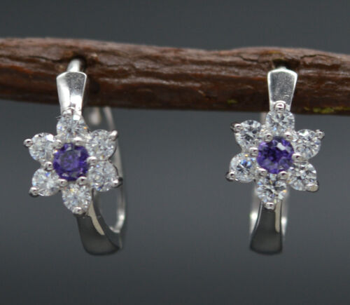 JM53 14K Solid White Gold 11mm Purple Cubic Zirconia CZ Flower Huggie Earrings