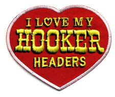Hot Rod Patch Hooker Headers Badge Heart  Drag Race Muscle Car Speed Shop