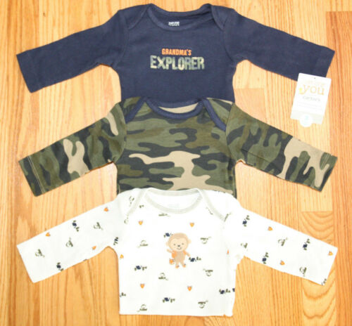 White Carter/'s Long Sleeve Baby Boy 3 pack Bodysuits~Camo Green Blue~Camping~