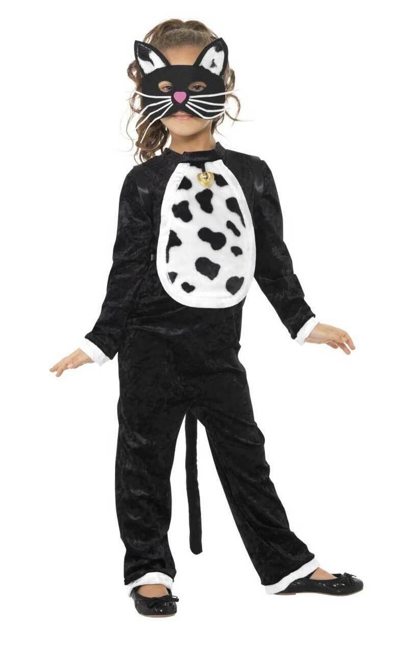 Kids Age 4 - 9 Years Black Cat Halloween Fancy Dress Costume