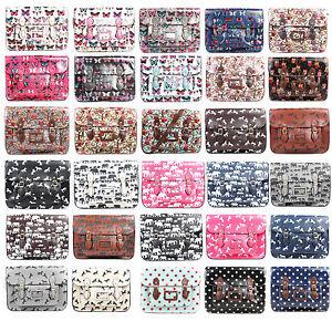 Ladies-Large-15-034-Faux-Leather-Oilcloth-Satchel-Bag-School-College-Shoulder-Bags