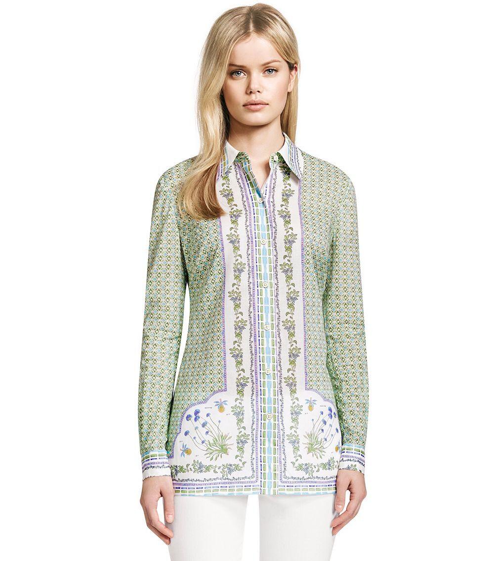 Tory Burch Dress Shirt Carly Garden Party 4 XS S Botanical Floral
