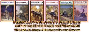 2000-Narrow-Gauge-amp-Short-Line-Gazette-Six-Magazine-Set-Free-Priority-USPS-Mail
