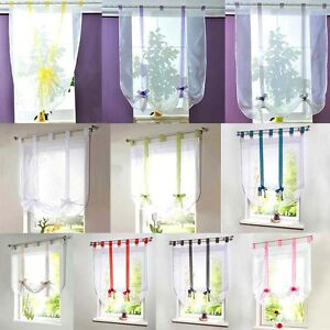 Multi-Color-Ribbon-Roman-Curtains-Blind-Wave-Balcony-Voile-Panel-Home-Room-Decor