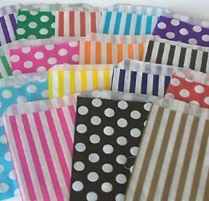 Polka-Dot-Paper-Party-Sweets-Cake-Favours-Gifts-Bags-Multi-Colour-Two-Sizes
