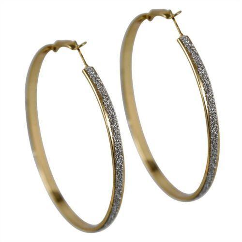 6cm Gold//Rose gold plated Glitter Hoop Earrings
