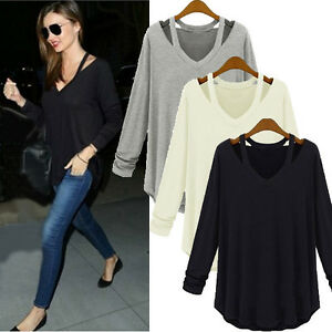 Women-V-Neck-Cold-Shoulder-Cotton-Long-Sleeve-Top-Tee-Shirt-Plus-Size-Blouse
