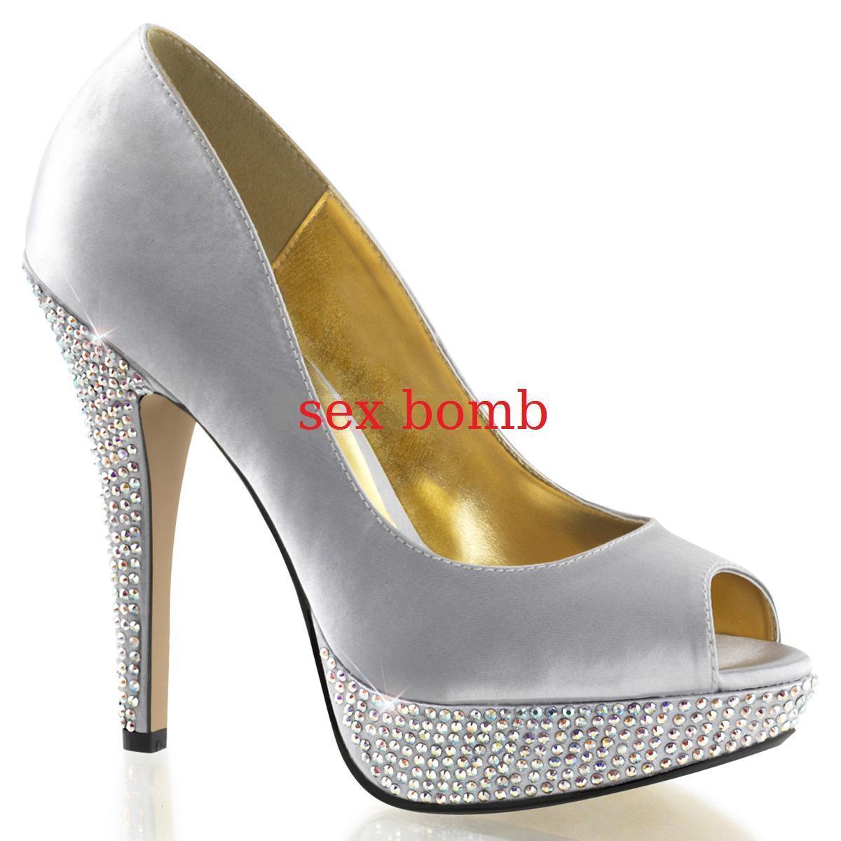 SEXY scarpe decolte STRASS plateau tacco 13 dal 35 al 41 ARGENTO fashion GLAMOUR