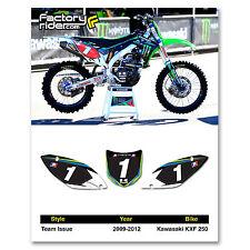 2009-2012 KAWASAKI KXF 250 Team Issue Dirt Bike Graphics Custom Number Plates