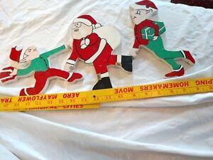 3-Piece-Wood-Handmade-Painted-Santa-Claus-Elves-Decor-Sign-Statue-Art-VTG-Xmas