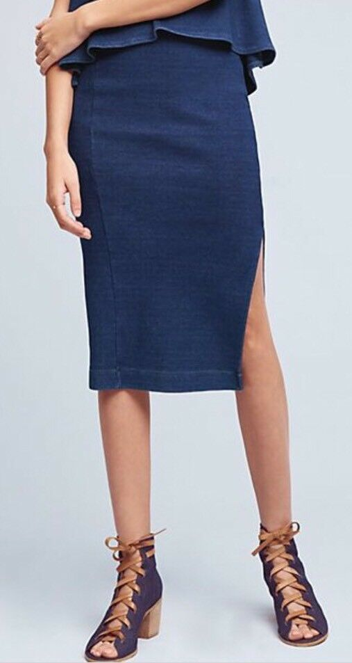 NEW AG WOMENS THE SCATRI SKIRT - INDIGO KNIT THREE Size Large - Retail 198