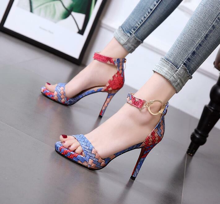 Fashion Women High Heel Sandals Peep Toe Sexy Ankle Strap Buckle shoes Party Pump