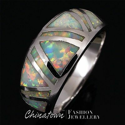 White Fire Opal Triangle Inlay Silver Jewelry Band Ring US Size 6 7 8 9 10