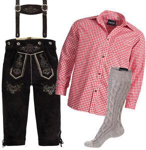 Details zu Trachten Set Lederhose m Trägern dunkelbraun + Trachtenhemd rot + Strümpfe beige