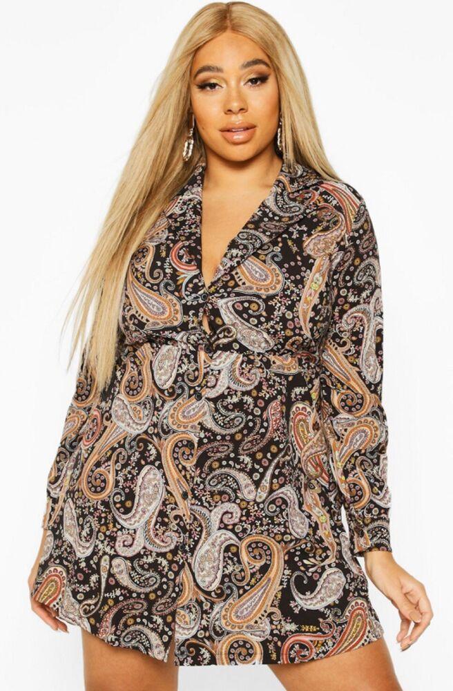 * Nouveau * Boohoo Plus Imprimé Cachemire Chemise Blouse Robe Taille 16 Rrp £ 25