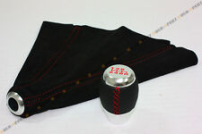 LEATHER 6 SPEED SHIFT KNOB + SUEDE BOOT W/ RED STITCHING FITS SENTRA ALTIMA 350Z