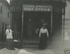 ANTIQUE-VINTAGE-CELORON-NY-VICTORIAN-POST-OFFICE-SIGN-EDWARDIAN-FUN-OLD-PHOTO
