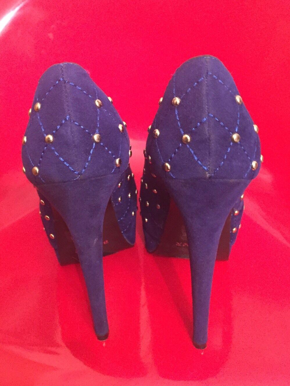 Blau Velvet With Stud Embellished Accent Stilettos Größe 8.5 By Bumper