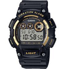 Casio Men's Digital Black Resin Band, 100 Meter WR, Vibration Alarm, W735H-1A2V