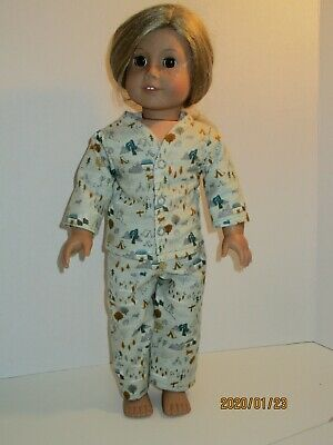 """Campers /& Bears//Green Pajamas 18/"""" Doll Clothes American Girl"""