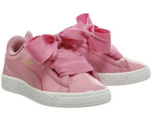 Details about Puma Basket Heart Ps Prism Pink Older Girls UK 2 EU 34.5 Patent Trainers Shoes