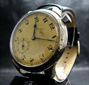 JUNGHANS-Vintage-WWII-Era-Large-Driver-039-s-Wristwatch-Deco-Case