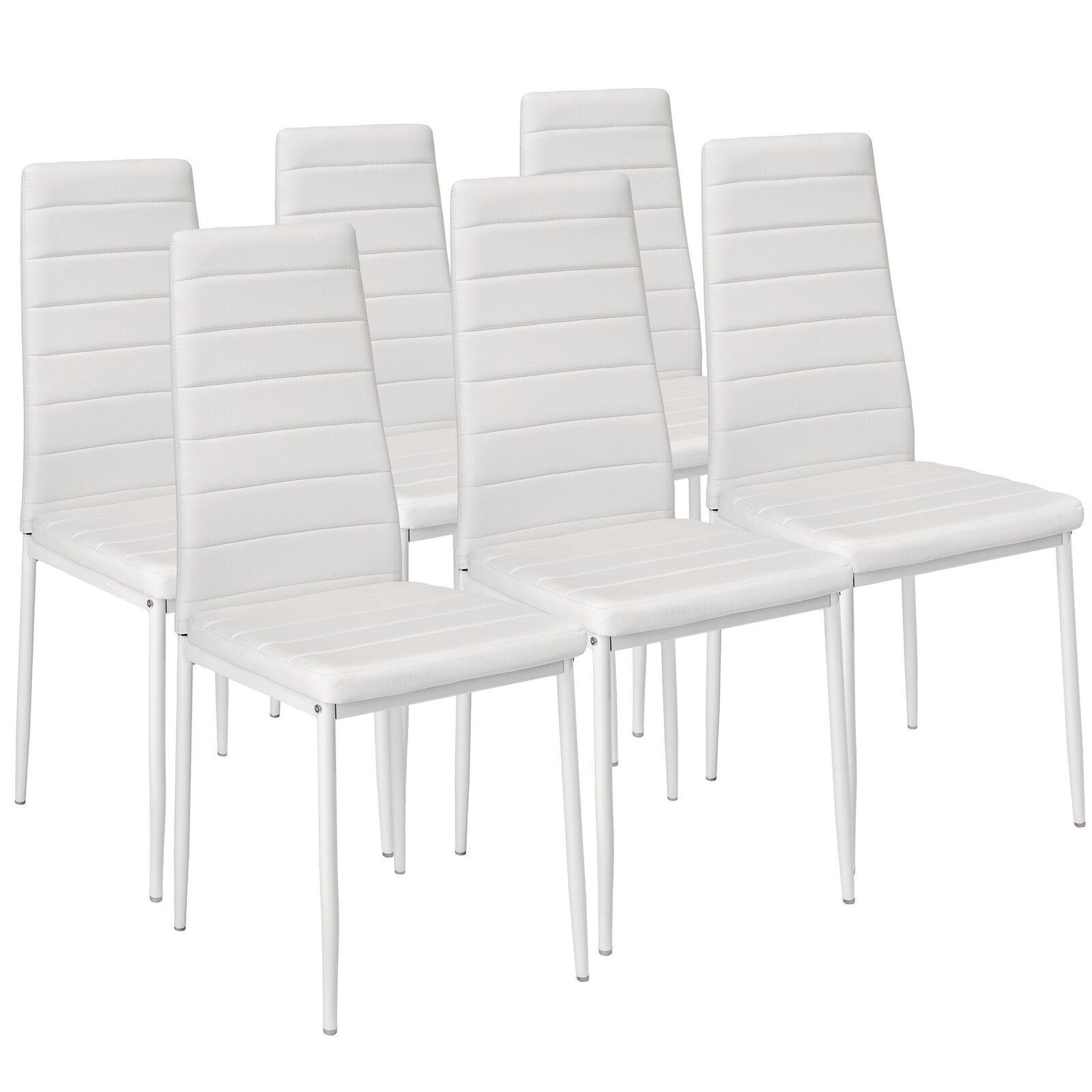 6x Sillas de comedor Juego elegantes sillas de diseño modernas cocina blanco...