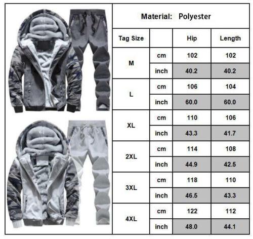 2PCS Men/'s Warm Fleece Tracksuit Set Sport Hoodies /& Pant Sweatshirt Coat Jacket