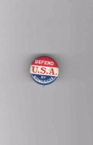 1940s pin WWII HOMEFRONT pinback VICTORY Theme Defend USA by Aiding Allies