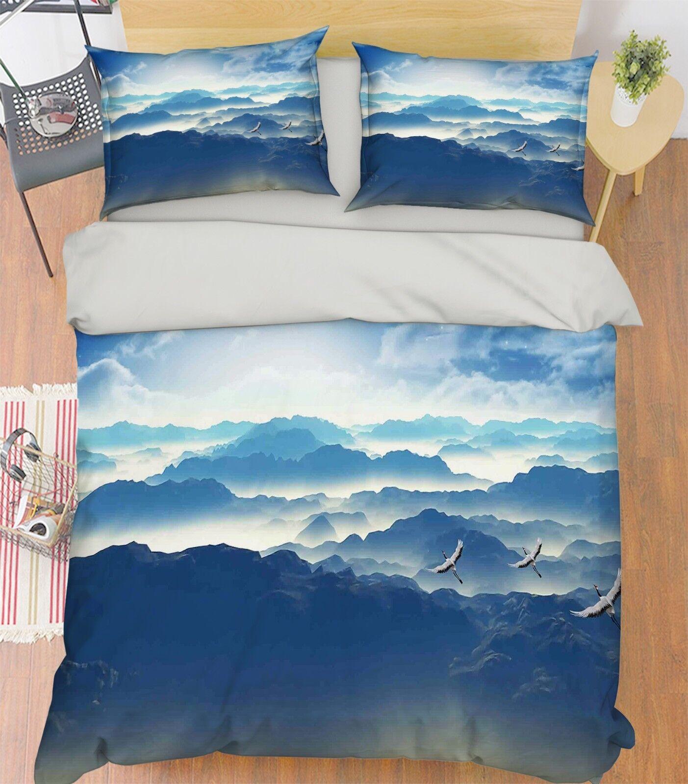 3D Mountain Crane 4 Bed Pillowcases Quilt Duvet Cover Set Single Queen King AU