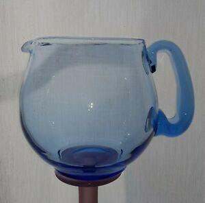 Vintage-1930s-Art-Deco-Hand-Blown-Blue-Glass-Jug-Vase-with-Polished-Pontil-C7
