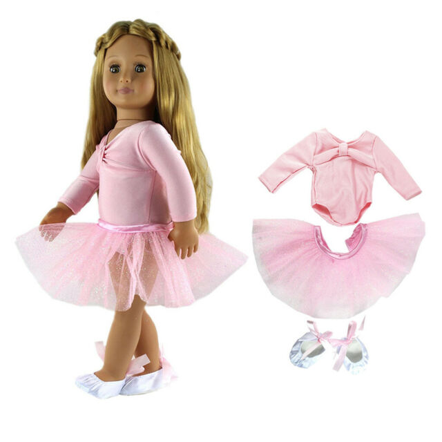Adorable Pink Skinny Ballet Dance Outfits for 18inch AG American Doll Doll