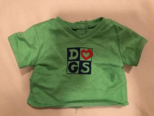 American Girl DOLL clothes Retired LINDSEY Meet Green Love DOGS tShirt