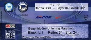 Ticket-BL-2003-2004-Hertha-BSC-Bayer-04-Leverkusen