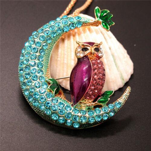 New Purple Blue Enamel Moon Owl Crystal Animal Pendant  Women/'s Gifts Necklace