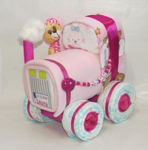 Windeltorte Schnullerkette Traktor Windelbulldog rosa Windeltraktor