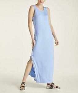 Heine Casual Damen Kleid Maxikleid Jerseykleid Armellos Rundhals Blau Neu Ebay
