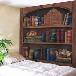 Image Is Loading Retro Bookshelf Print Tapestry Art Wall Hanging
