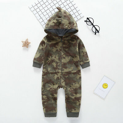 Newborn Infant Baby Boy Camouflage Hooded Romper Jumpsuit Outfits Warm Clothes