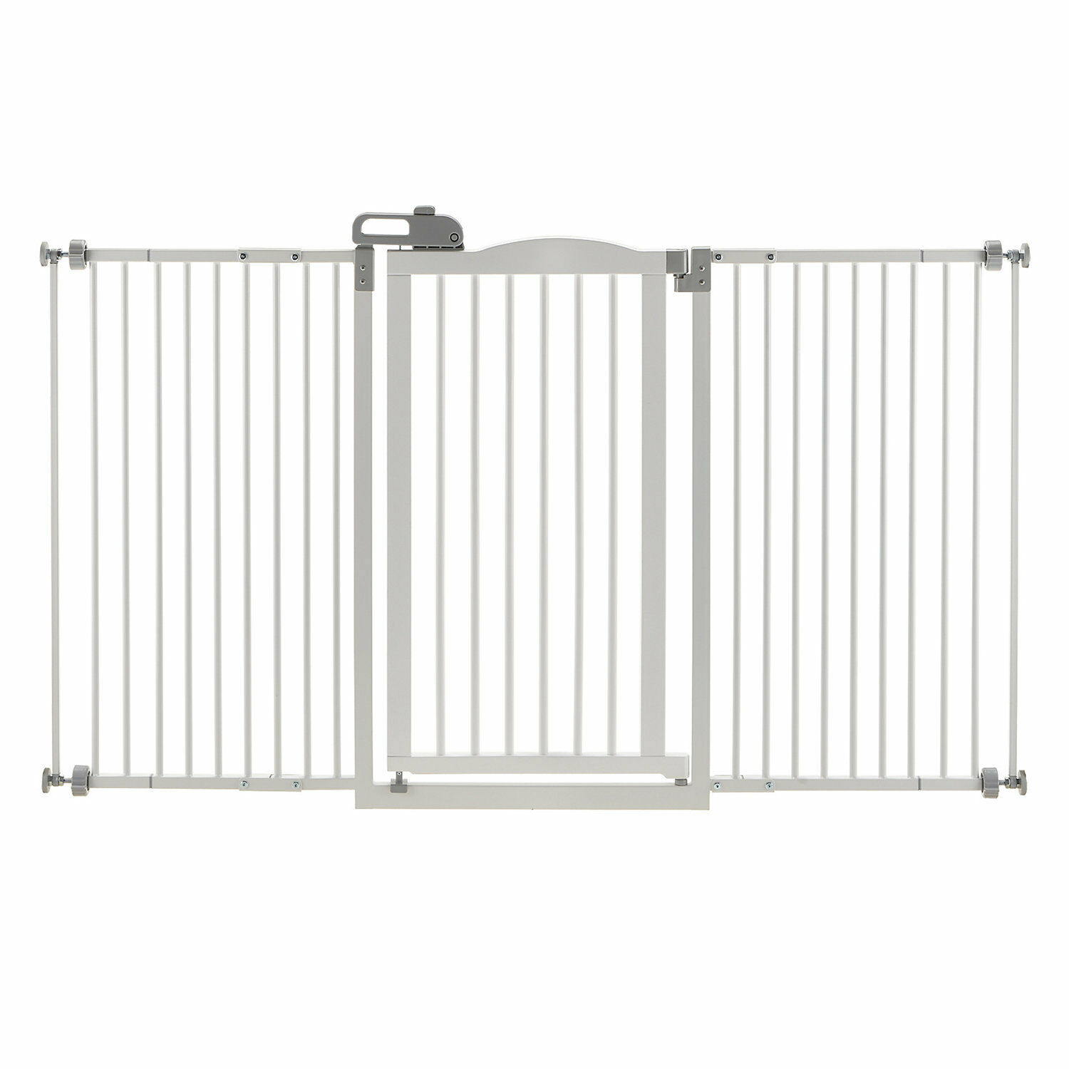 Richell Tall One-Touch White Pet Gate II Wide, 62.8  L x 38.4  H x 2  W