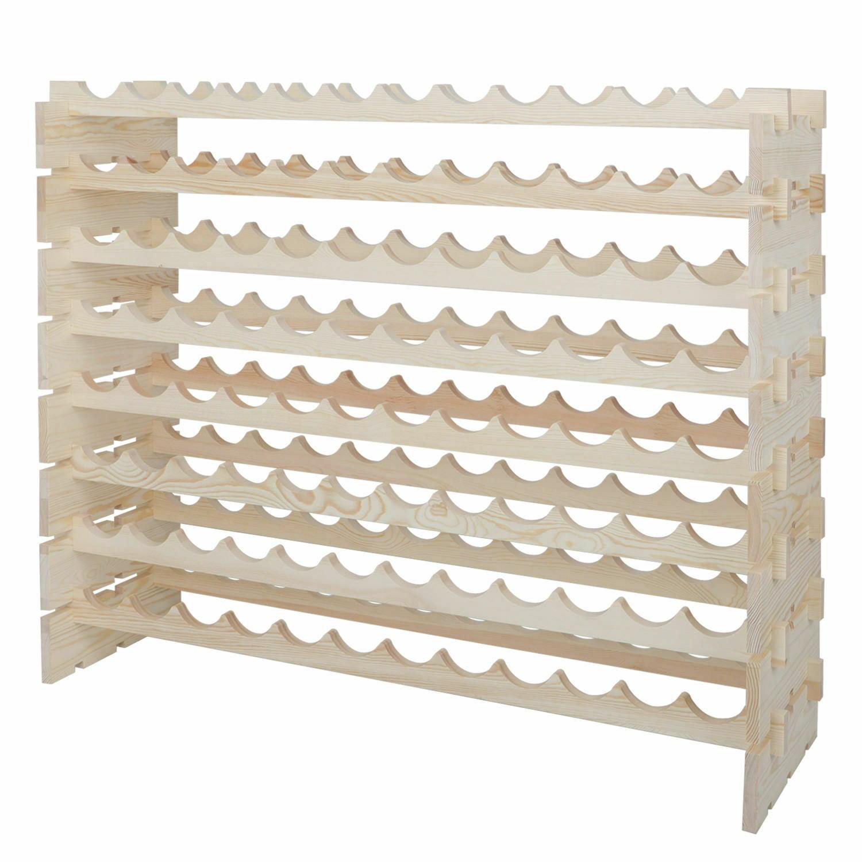 2PCS 96 Bottles Holder Wine Rack Stackable Storage 8 Tier Solid Wood Display Bar Tools & Accessories