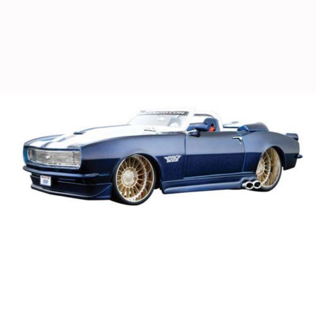 Maisto 1968 CHEVROLET Camaro SS 396 Cabrio Blu con strisce bianche 1:24