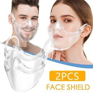 2-Pcs-Masque-Protection-Lavable-Reutilisable-Durable-Transparent-Clair-Neuf